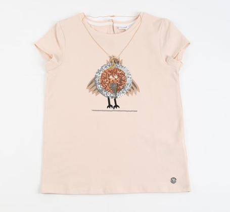 Communie collectie meisjes: Roze T-shirt met paillettenvogel