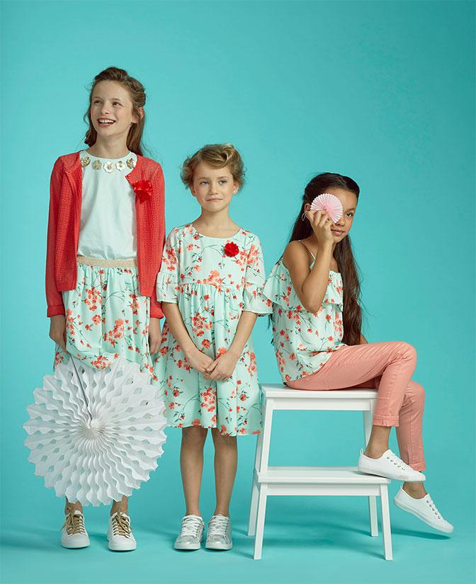 Mintgroene rok met florale print