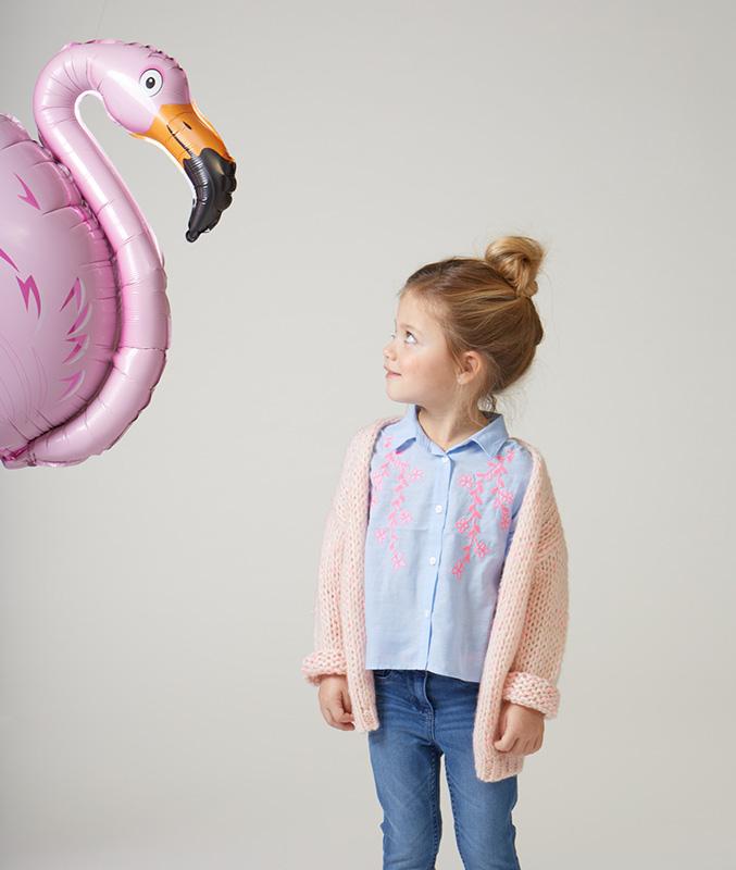 Veste tricoté rose pâle en laine mélangée