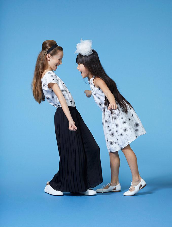 Roomwitte jurk met grafische print