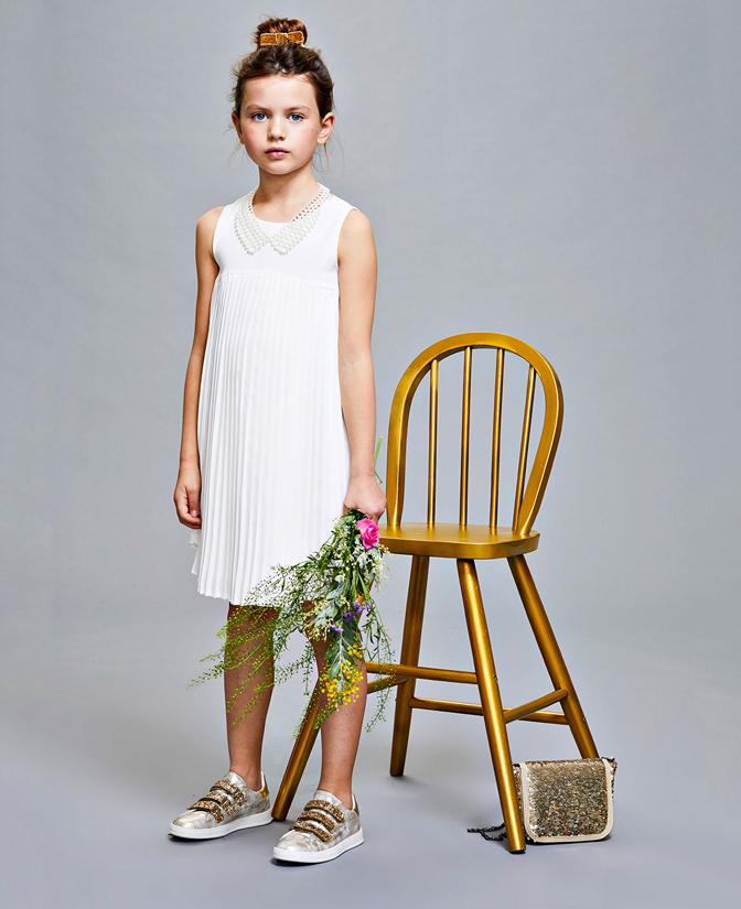 Communie collectie meisjes: Witte empire jurk en sjaal met plissé