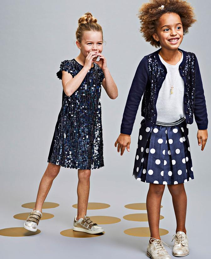 Communie collectie meisjes: Nachtblauwe rok met polkadotprint