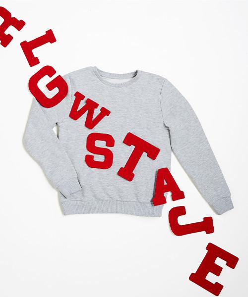 Lettersweater tiener Grijs