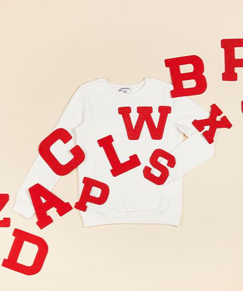 Lettersweater tiener Wit