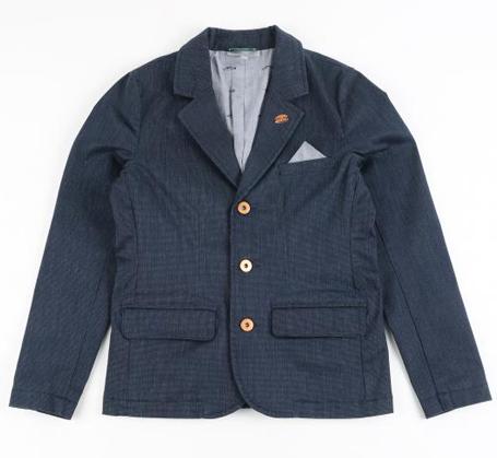 Communie collectie voor jongens: Nachtblauwe chambray blazer met pochet aan de borstzak