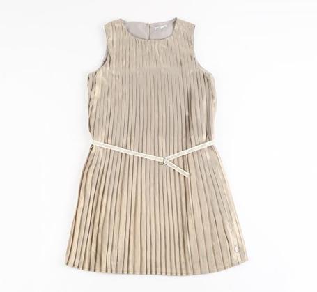 Communie collectie meisjes: Taupe plisséjurk met glitterprint