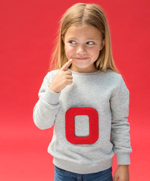 Lettersweater kids Grijs