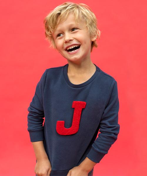 Lettersweater kids Blauw