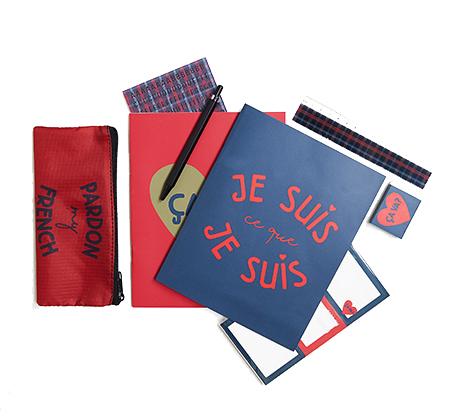 SET VAN SCHOOLSPULLEN met Franse opschriften