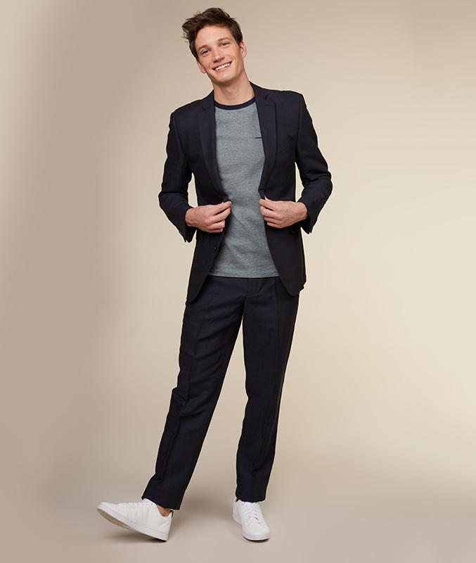 Nachtblauwe blazer met jeanslook