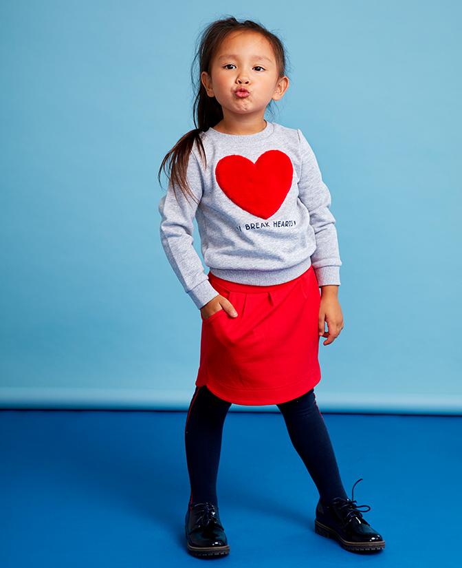 sweater met hartjesprint