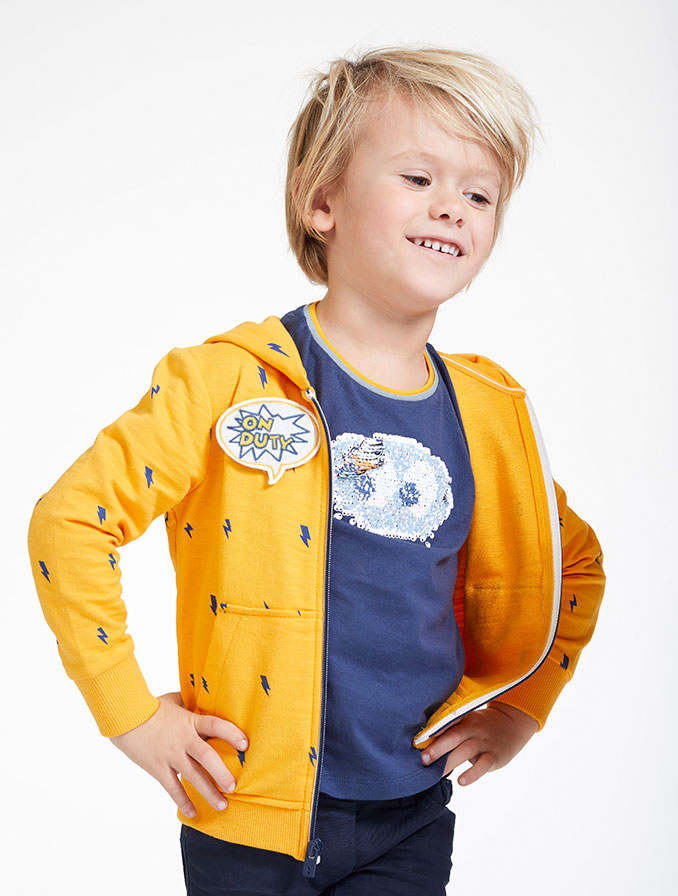 Mosterdgeel sweatvest met patches
