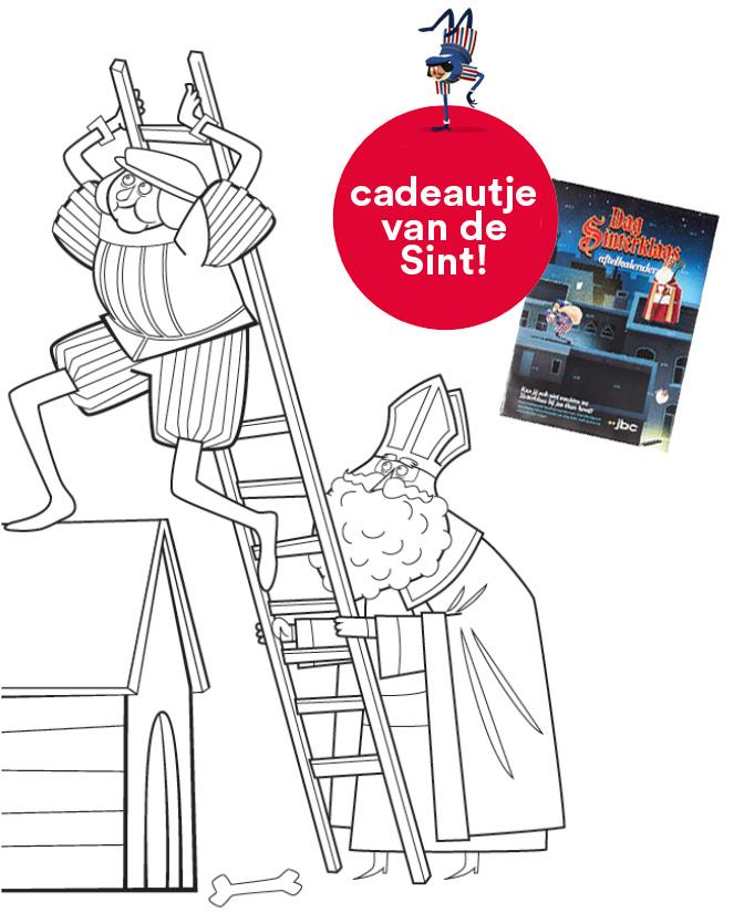 """Download en kleur deze leuke tekening in en ontvang tijdens het Sintbezoek de officiële """"Dag Sinterklaas""""-aftelkalender"""
