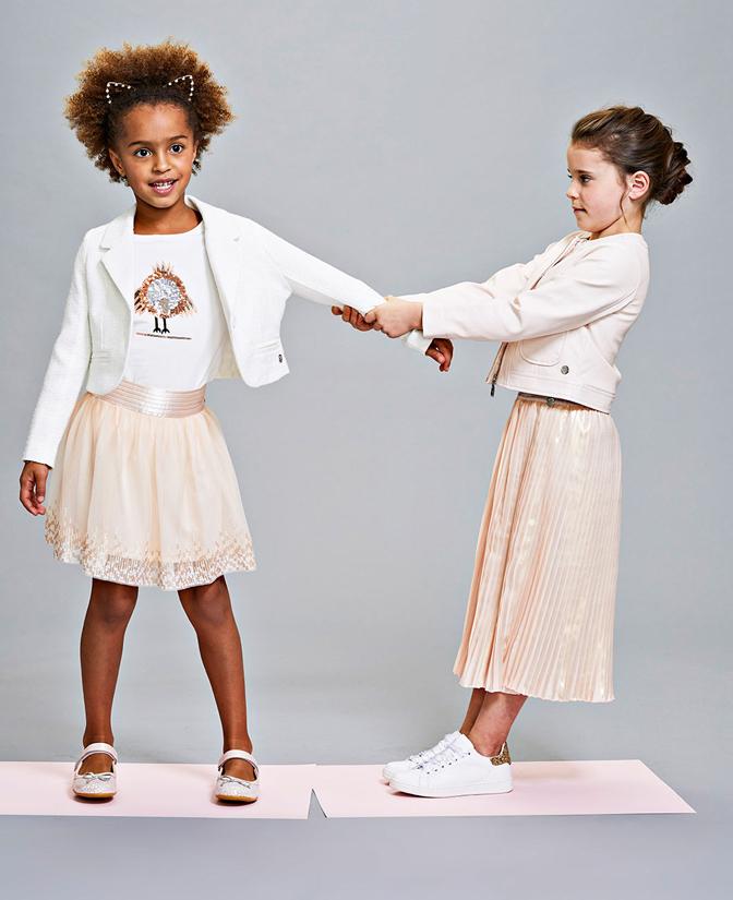 Communie collectie meisjes: Zalmroze tule rok met pailletten